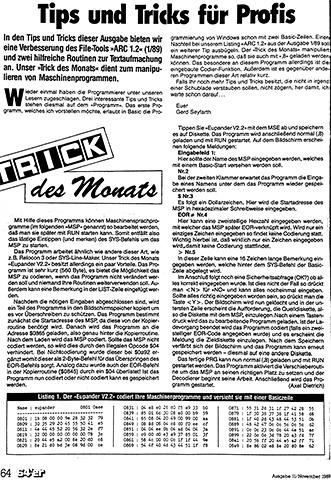 64'er Trick des Monats: Eupander V2.2 in Ausgabe 11.1989