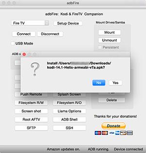 adbFire Install Kodi APK ausgewählt