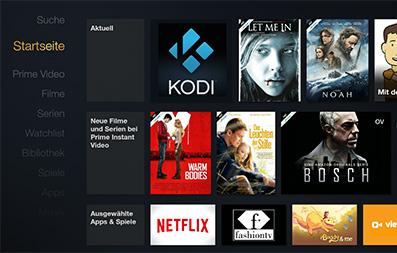 Fire TV Kodi auf Startseite