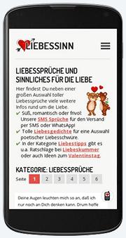 Startseite der Liebessinn auf Smartphone