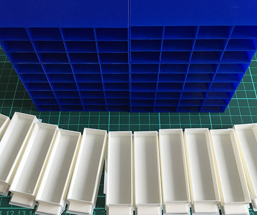 Resistor storage boxes and drawers
